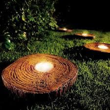 creative outdoor lighting ideas. lights in tree stump slices to illuminate yard garden lighting ideasoutdoor lightinggarden creative outdoor ideas l