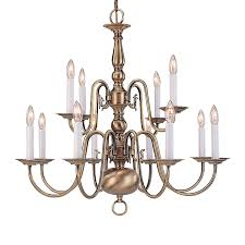 livex lighting williamsburg 26 in 12 light antique brass candle chandelier