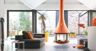 Living Room Ideas | Sleek Style | Mid-Century Modern | Hanging Fireplace |  Retro