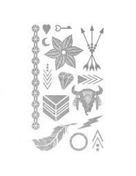Metalické Stříbrné Ozdoby Sada Tetovaček