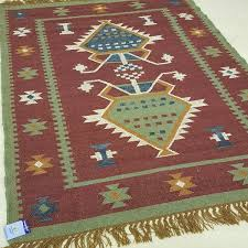 100 wool red with green blue kilim rug 6601