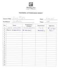 Attendant Sheet Human Rights Policy Joining Orientation Attendance