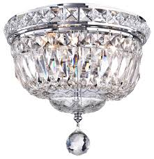 3 light chrome finish crystal ceiling flush mount chandelier small