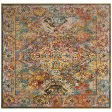 crystal light blue orange 7 ft x 7 ft square area rug