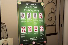 60th Birthday Poker Theme Party Seating Chart 60th