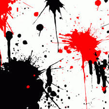 red and black paint splatters