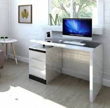 White High Gloss Pc Computer Desk  Black Glass Top  3 Drawer  For White