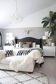 bedrooms with white furniture. Neutral Bedroom With Crystal Chandelier, Button Tufted Chaise, Black And White Accents Leather Bedrooms Furniture G
