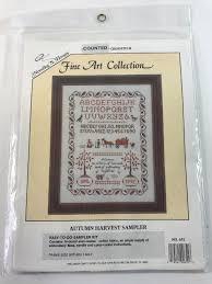 Fine Art Cross Stitch Designs Autumn Harvest Sampler Cross Stitch Kit 651 Needles N Hoops Fine Art Collection
