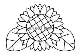 無料イラスト 白黒の向日葵の花