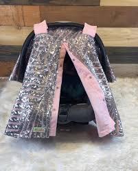 silver sequin geometric car seat canopy