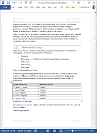 employment reviews company employee handbook template download 100 pg ms word templates excel