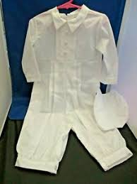 NWT Allie Wade Boys Christening Romper & Bonnet Hat 24 months White | eBay