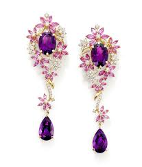 ganjam le jardin collection earrings set with oval and drop amethysts and pink sapphire