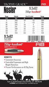 9 3x62 Mauser 250gr Trophy Grade Accubond Ammo 20ct