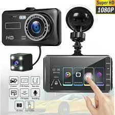 Camera hành trình cho xe hơi, ống kính kép hd 4 inch, hỗ trợ đảo ngược hình  ảnh, 1080p, góc rộng, ghi hình lái xe, camera dvr 4
