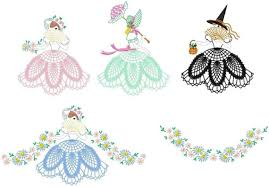 Free Standing Lace Easter Designs Belles With Free Standing Lace Skirts Machine Embroidery