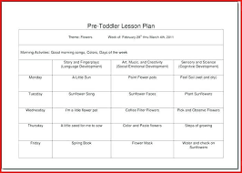 Sample Toddler Lesson Plan Template | Ophion.co