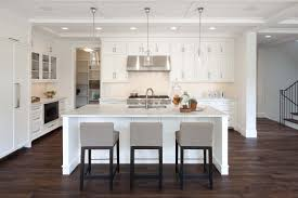 Dark Wood Floors In Kitchen Black Metal Bar Stool Chair White Granite Island Top Rectangle