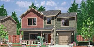 House Front Color Elevation View For 10094 Narrow Lot House Plans, Small  Lot House Plans