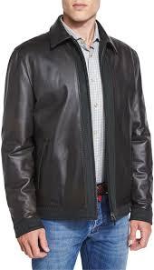 kiton leather er jacket with cashmere trim olive