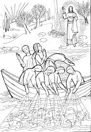 Fish Color Pages Jesus The Miraculous Catch Of Fish Coloring Pages