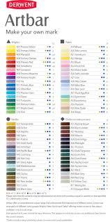 Colour Chart For The Full Range Of 72 Derwent Artbars