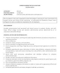 Administrative Assistant Job Summary Resume Best Of Sample Resume For Executive Assistant To Senior Executive Humann D