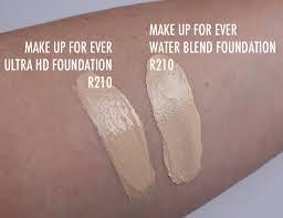 make up for ever r210 water blend foundation parison