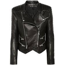 womens lambskin black leather quilted biker jacket