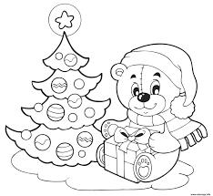 Coloriage Sapin De Noel Et Nounours Avec Un Cadeau De Noel Dessin