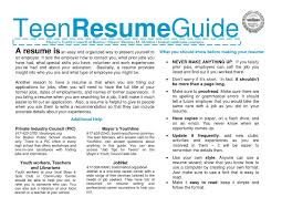 Teenage Resume Teenage Resume Template Resume Templates 30