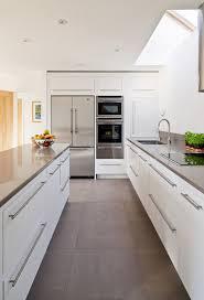 simple modern kitchen. Simple Modern White Kitchens With Gray Ceramic Floor Kitchen