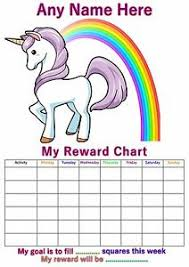 Details About Personalised Childrens A4 Reward Behaviour Chart Unicorn And Stickers