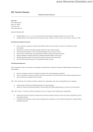 Esl Teacher Resume Sample Sample Teacher Resume Teacher Resume ...