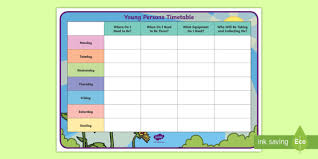 Weekly Timetable Planner Young Persons Weekly Timetable Planner Parental Absence