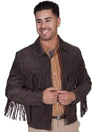 mens scully frontier brown fringe western jacket