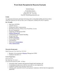 Front Desk Receptionist Sample Resume And Office Hotel Exa Sevte