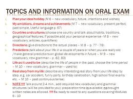 topics and information on oral exam ppt video online  topics and information on oral exam