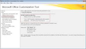 Microsoft Office Example Using The Office Customization Tool To Install A Kms Key For