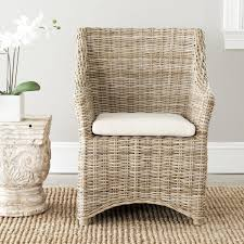 safavieh rural woven dining st thomas indoor wicker washed out brown wing back arm chair