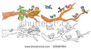 Small Picture Cute Woodland Animals Forest Birds Sitting Stock Illustration