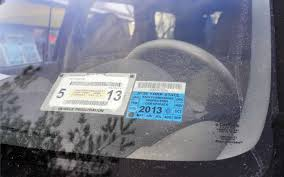 nys registration and inspection stickers on a car in colonie jan 22 2016