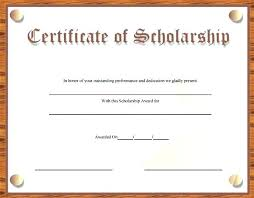 Scholarship Certificate Template For Word Memorial Scholarship Certificate Template Awards Templates