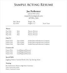 Acting Resume Beginner Resume Samples In Word Beginner Actor Resume Samples Regarding