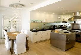 Kitchen:Astonishing Living Room Dining Kitchen Design Ideas With White  Kitchen Island And Black Dining