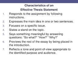 writing thesis statements 11 characteristics of an effective thesis statement