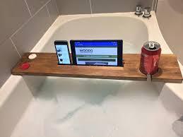 bathtub caddy wood wooden bath tray bathtub board bath shelf wine tablet holder dark oak bath