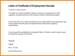 Sample Of Certificate Of Employment Lett As Employment Certificate