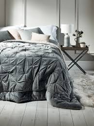 pin tucked velvet linen kingsize quilt dove grey